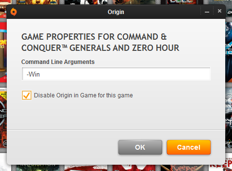 The Game Properties dialog in Origin