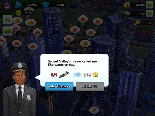 Accept or decline a deal offered in your city for extra Simoleons