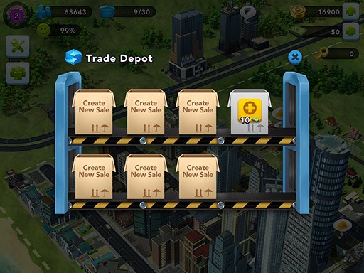 Put items on sale in the Trade Depot